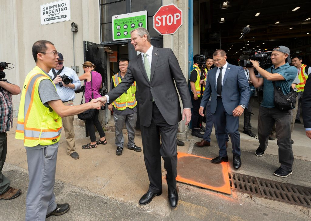 Governor Baker shakes hands with CRRC employee